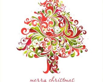 Christmas Tree Swirl Cross Stitch Pattern