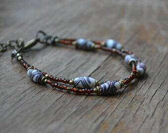 Trade bead bracelet with antique Venetian fancy beads, double strand