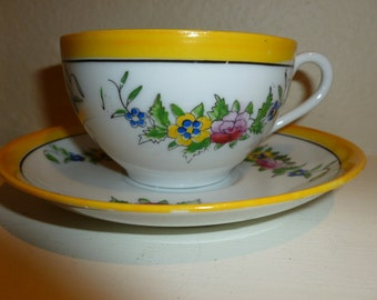 Vintage Sweet And Cheerful Teacup And Saucer From The 1950's
