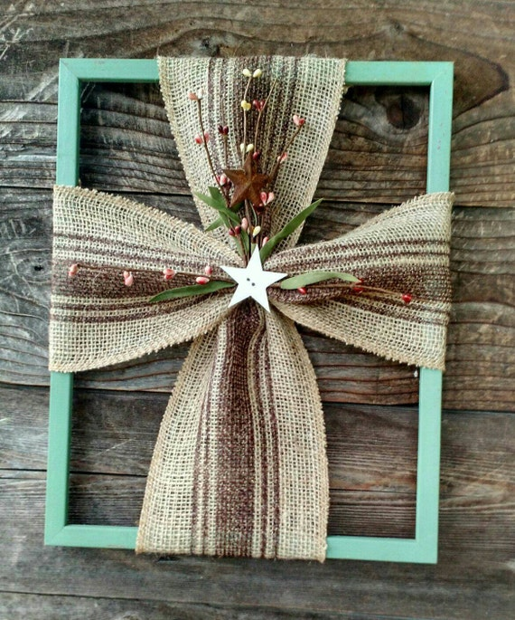 burlap cross frame with floral accents