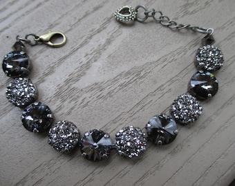 "Austrian crystal ""Coal and Ice"" 12mm bracelet- Black bracelet - contains genuine Swarovski crystals"
