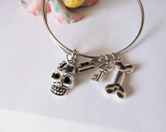 Punk Princess Bangle Bracelet, Skull with Skeleton Key and Bone Charm, Kids Bangle Bracelet, Punk Princess Jewelry