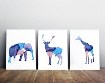 Deer elephant and Giraffe Art - Blue home decor - nursery Watercolor painting - 3 prints - silhouette animal illustration - purple blue