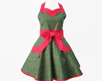 Womens Plus Christmas Retro Apron, Plus Size Holiday Hostess Green & Red Apron with Sweetheart Neck and Optional Personalization