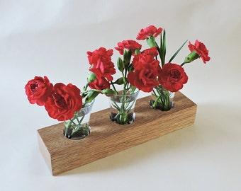 Vase en bois avec verre des tubes à essai, titulaire de fleurs, décor de partie, pièce maîtresse, pot de fleur respectueux de l'environnement, bois moderne et vase de pot de fleur en verre