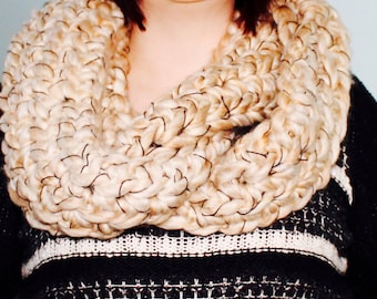Super Chunky Crochet Infinity Scarf, Cowl, Ready to Ship, Crocheted, Neutral, Crocheted, Salty
