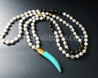 WT-N505 Wholesale Natural Tusk long horn turquoise necklace, Women handmade beads horn necklace