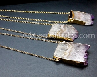 WT-N121 Amethyst Slice Necklace , Amethyst Druzy Necklace Available in gold or silver Amethyst Slice Necklace