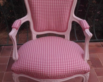 Chair Louis XV fully restyled gingham pink