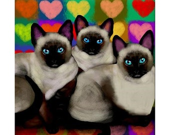 Siamese Cats Flowers Art Print different sizes available