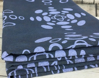 Heavy cotton canvas 9.5oz hand dyed dark blue hand printed with ellipse pattern in lilac, cotton fabric panels