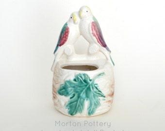 Vintage Morton Pottery Lovebirds Wall Pocket #0029