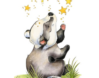 Baby Badger Art, Badger Art Print, Badger Nursery Art, Little Badger, Nursery Art, Nursery Decor, Watercolor Nursery, Badger With Stars