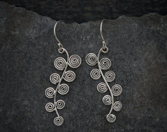 Abstract Spiral Sterling Silver Drop Earrings