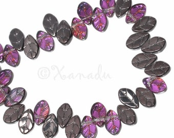 Glass Leaf Beads - 20/50/100 Wholesale Gunmetal AB Finish Glass Leaves For Jewelry Making G3310