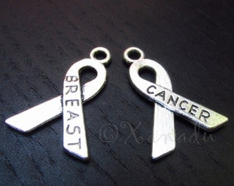 Breast Cancer Ribbon Charm Pendants - 10/20/50 Wholesale Double Sided Awareness Silver Plated Charm Findings C6461