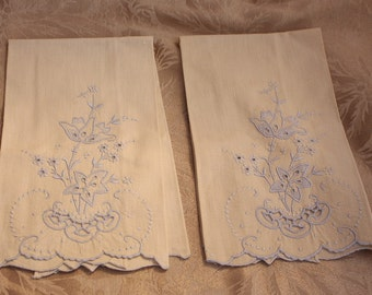 TwoCute Little Vintage tan with Blue Embroidery Hand or Fingertip Towel