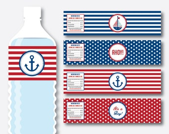 Instant Download, Nautical Water Bottle Labels, Nautical Water Bottle Wrappers, Nautical Labels, Nautical Wrappers, Ahoy It's A Boy (SBS.01)