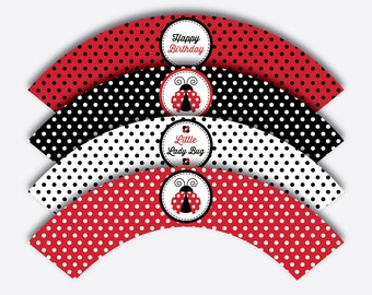 Instant Download, Ladybug Cupcake Wrappers, Ladybug Cupcake Decoration, Red Polkadot Cupcake Wrappers, Ladybug Party Printable (SKB.03)