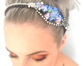 Reserved for Rachel...  Unique Vintage Brooch Wedding Headpiece.  Unique Bridal Tiara. Porcelain flower Headpiece. Something Blue Flower