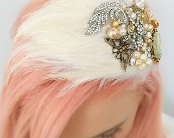 Bridal Feather Headpiece Vintage Ivory Wedding Headpiece Hair Accessory