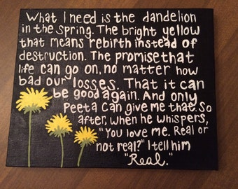 "The Hunger Games ""Mockingjay"" Dandelion Quote Painting 8x10"
