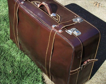 Vintage Large Leather Suitcase / Amazing Condition / Brown Shiny Leather with Yellow Stitching