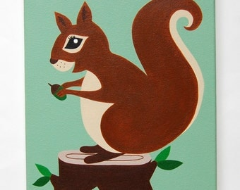 "Woodland Nursery Art, Squirrel painting, Forest Nursery decor, Woodland Creatures, Forest friends, Kids Wall Art, 10"" x 12"" original canvas"