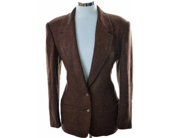 Gucci Womens Blazer Jacket Size 42 Large Brown Wool