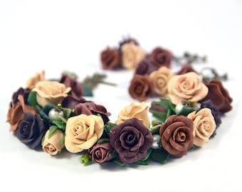 Rose cha cha charm Bracelet Polymer clay jewelry Brown Beige Terracotta Flowers Handmade Floral bracelet Bijouterie Gift Polymer clay