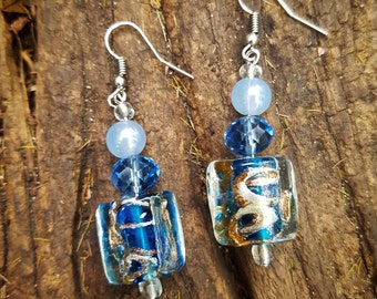 Blue Lamp-wick earrings