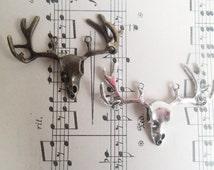 2 x Stag Antler Deer Skull Pendants Antique Silver Antique Brass or Mixed Metal Pendants  BA