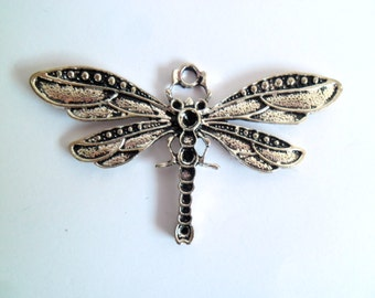1 x Large Antique Silver Plate Dragonfly Pendant: Solid Focal Piece with Space for Beads or Jewels BA