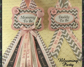 Set of 2 Pink and Gray Chevron Mommy To Be Corsage and Daddy To Be Baby Shower Corsages
