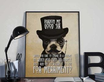 Steampunk Art Print Poster - Pardon Me Good Sir - PRINTABLE 8x10 inches - Wall Decor, Inspirational Printable, Home Decor, Gift