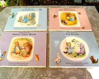 Classic Beatrix Potter Nursery Fine Art Plaques SET of FIVE (5)