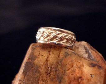 Celtic-Irish Woven Wedding Band, Handmade, Solid 925 Sterling Silver, SZ-5.5