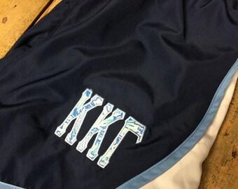 Kappa Kappa Gamma Women's Running Shorts Appliqued with Kappa Kappa Gamma Lilly Pulitzer Fabric