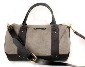 Clover Duffle / grey duffle bag / black leather / waxed canvas / leo lebel