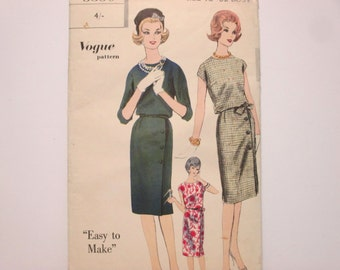 Vogue 5350 ~ Light Summer One Piece Dress with Slim Skirt and Back-buttoned Bodice SIZE 12 UNCUT 1960's Sewing Pattern