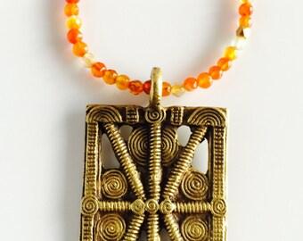 SALE! Africa Inspired Long Carnelian Gemstone Necklace