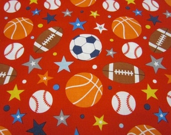 Red Sports Cotton Fabric for Children Called Play Ball 2 by Riley Blake