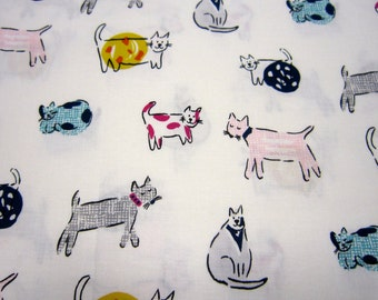 Kitty Cat Cotton Fabric on White Background by Dear Stella Designs