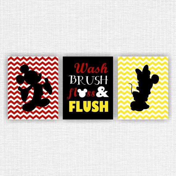 Mickey Mouse and Minnie Mouse bathroom Wall Art by