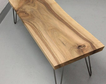 Sold - Live edge walnut coffee table on hairpin legs