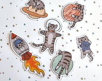 Cute Cat Magnet Set, Refrigerator Magnets, Cubicle Decor,  Space Kitty, Cat Magnet, Fridge Magnet Cute Kitty Magnet, Funny Cat Magnets