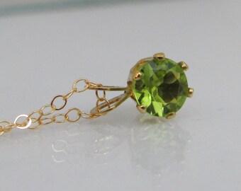 Gold Peridot Necklace, 6mm Peridot Gemstone, 14K Gold Filled, August Birthstone Gift, Layering Necklace, Petite Peridot Pendant, Wedding