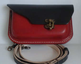 Hand stitched Leather Shoulder bag in Red and Black with Antique Brass clasp