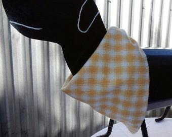 Dog Bandana - medium yellow check doggy bandana