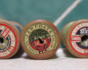 3 x Vintage Wooden Cotton Reels - Thread - Blue - Green - Orange - Sylko - J P Coates- 1940's - 1950's